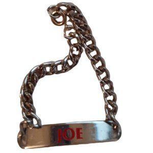 Joe name silver tone link chain bracelet